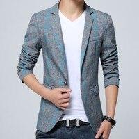 2017 Mới của Hàn Quốc Slim Fit Casual Mens Blazer Cotton Linen dài Tay Áo Suit Homme Kẻ Sọc Terno Masculino Cộng Với Kích Thước M-5XL áo khoác