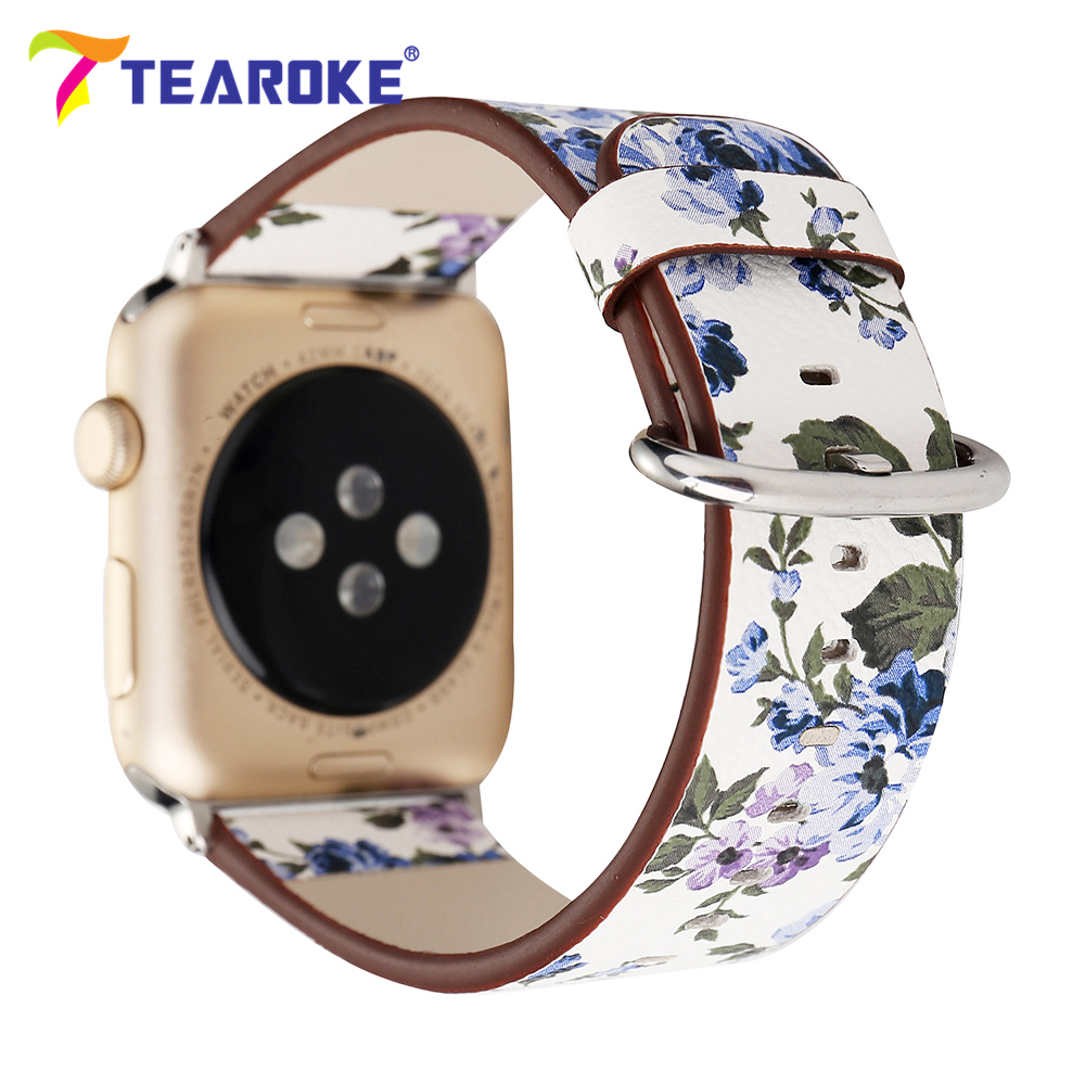 Lavender Floral Painted Leather Watchband For Apple Watch 38mm 42mm Fresh Natural Style Women Men Band Strap for iwatch 1 2 3