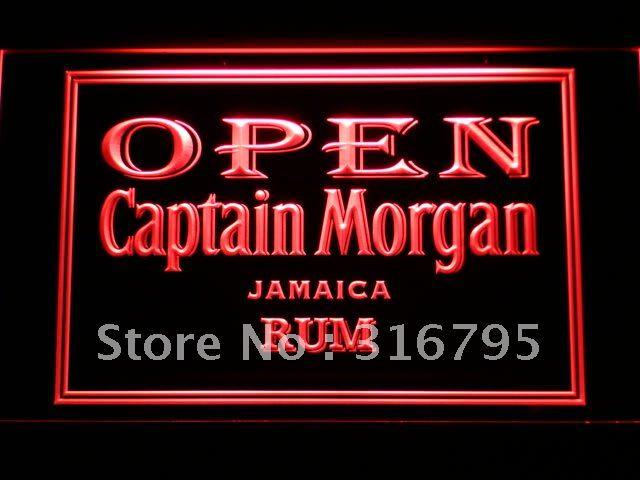 065 Captain Morgan Rhum de La Jamaïque OUVERT LED Néon Signe avec On/Off 20 + Couleurs 5 Tailles à choisir