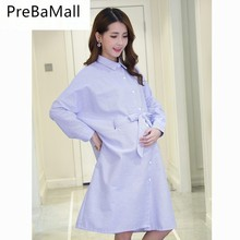 Pregnant Women Blouses Shirts Lapel Long Sleeve Dress For Elegant Loose Striped Maternity Dresses Clothings B0041