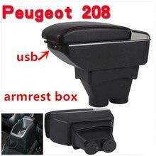 Для peugeot 208 подлокотник коробка peugeot 208 Универсальный Автомобильный центральный подлокотник коробка для хранения держатель стакана, пепельница Модификация аксессуары