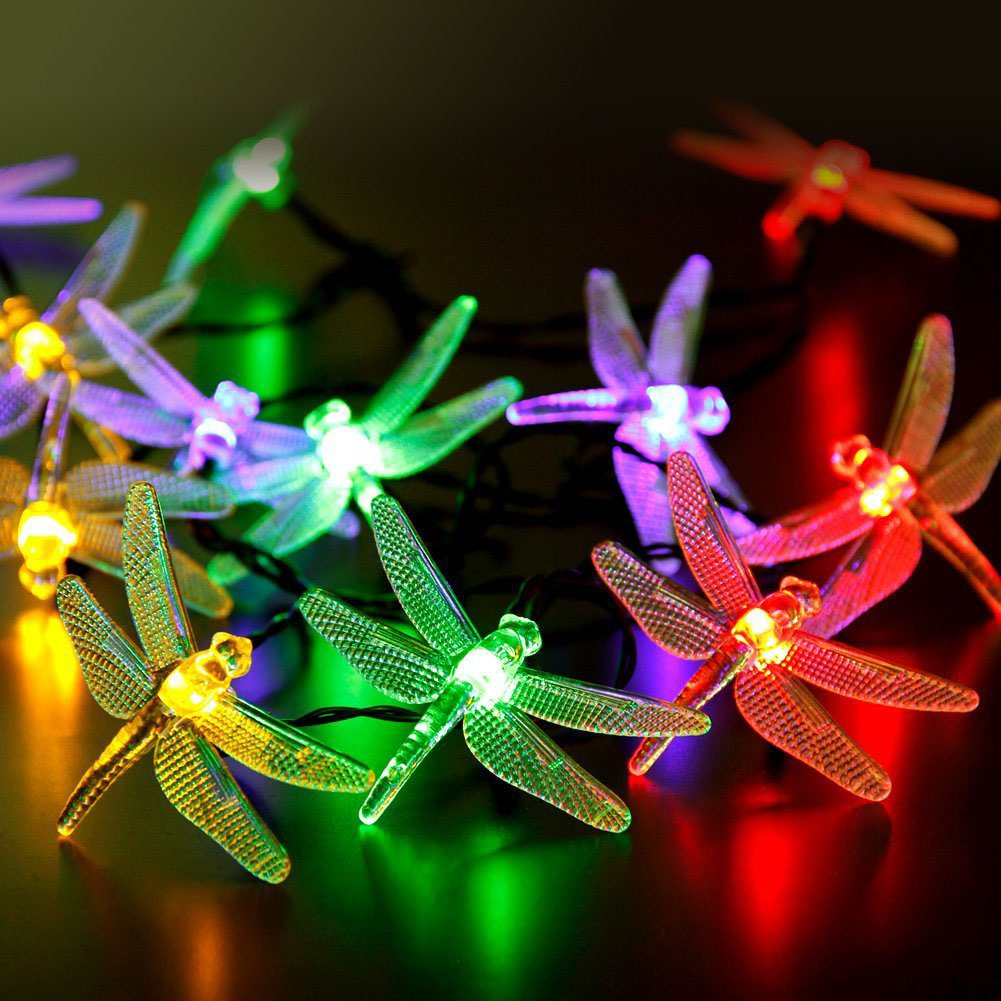 Night lights holiday - Waterproof Outdoor Solar Dragonfly Led Night Lights Solar Lamps 2017 Holiday Festival Weddings Easter Decoration 16ft