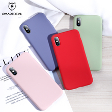 SmartDevil Solid Color Silicone Couples Phone Case For iphone XR X XS Max 7 8 Plus Cute Candy Soft Simple Fashion Cases
