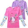 Детские девушки футболки одежда мультфильм свинья pattern осень длинные рукава розовый бобо выбирает детей одежда kikikids толстовка bebes