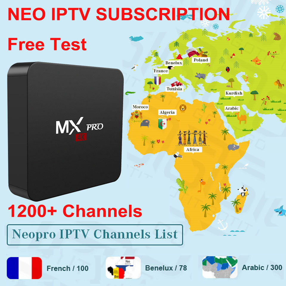 GOTiT NEO IPTV 1200+ Europe France Arabic Europe Live Channels Android Box 1G 8G IPTV M3U Subscription Android Smart TV Enigma2