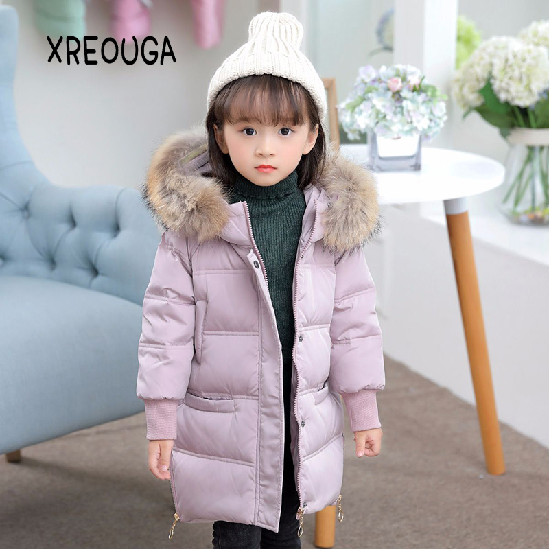 2017 New Big Fur Collar Solid Winter Down Coat Kids Girls Long Fashion Hooded Jackets Windproof Baby Girls Outerwear ASY01 women winter coat leisure big yards hooded fur collar jacket thick warm cotton parkas new style female students overcoat ok238