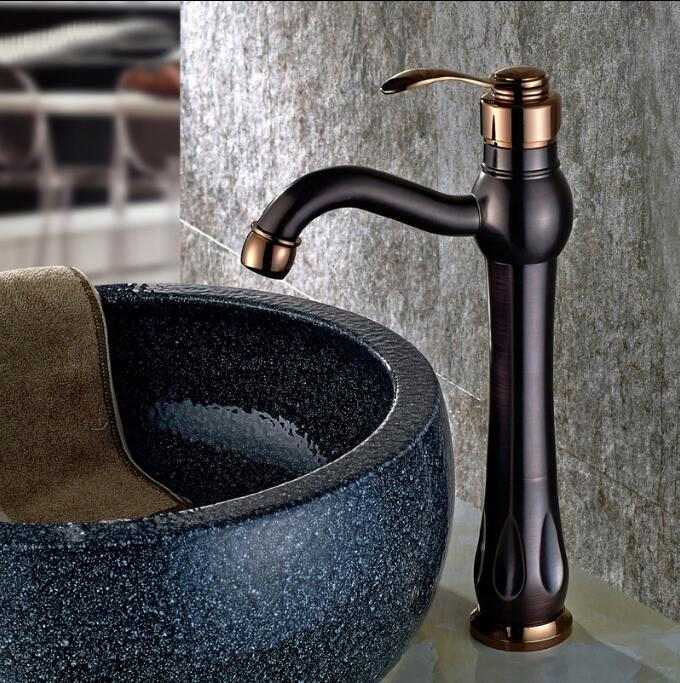 ORB bronze wash basin faucet waterfall faucet bathroom sink tap cold and hot mixer tap basin mixer tap Sink faucet quyanre waterfall basin faucet blackend orb nickel single handle mixer tap sink vanity faucet bathroom basin tap