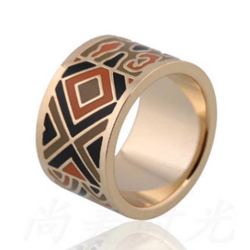 12ชิ้น/ล็อตขายส่งคู่ใช้ป่าเคลือบสแตนเลสแหวนผู้หญิงผ้าพันคอเข็มขัดBijouxทองแดงเจ้าสาวอุปกรณ์Mujer Anel