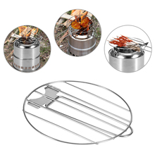 Portable Barbecue Grill Net for Wood Stove Stainless Steel Camping BBQ Accessories Grill Net with Foldable Handle Camping Picnic