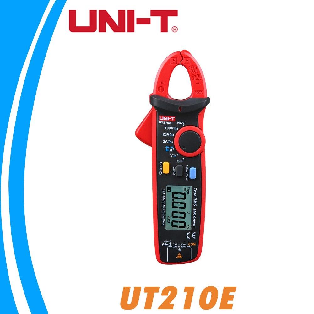 UNI-T UT210E True RMS Mini Digital Da Braçadeira Metros AC/DC Tensão Corrente Capacitância Sem Contato Multímetro Gama Auto VFC diodo