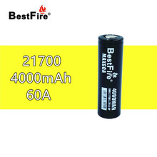 1 pcs BESTFIRE 60A IMR 21700 4000 mah Flat Top Bateria de Lítio Recarregável para ECIG lanterna brinquedo carro notebook Li ion batteris