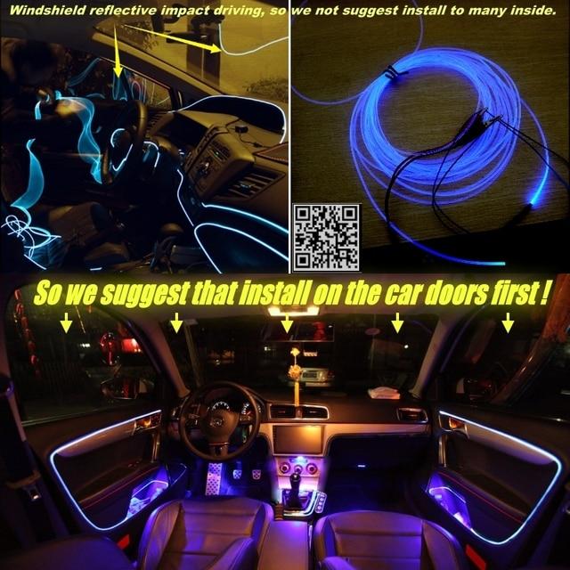 interior Ambient Light Tuning Atmosphere Fiber Optic Band Lights For Chrysler 200 For Lancia Flavia Door Panel illumination 2