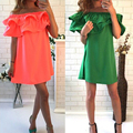 Женщины Платья 2016 рюшами summer dress плюс размер Рукав С Плеча женщина пляж dress sexy party платья vestidos VB1329