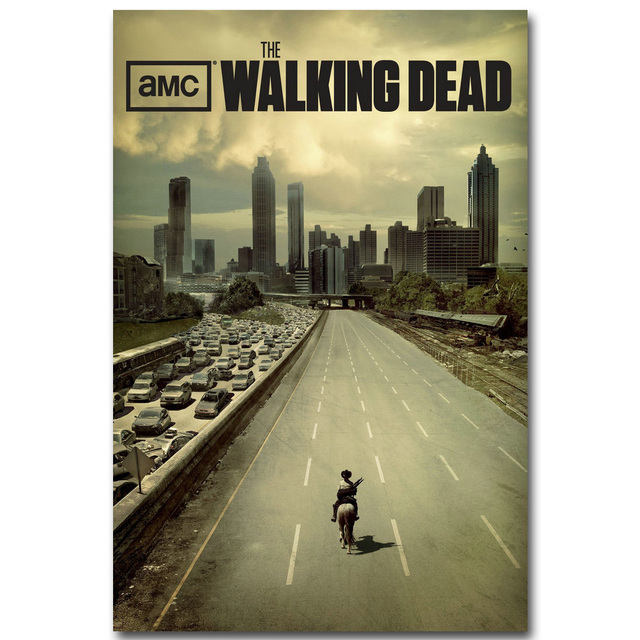 The Walking Dead Art Silk Fabric Poster Print 13×20 24x36inch TV Series Pictures for Room Wall Decoration Rick Daryl 007
