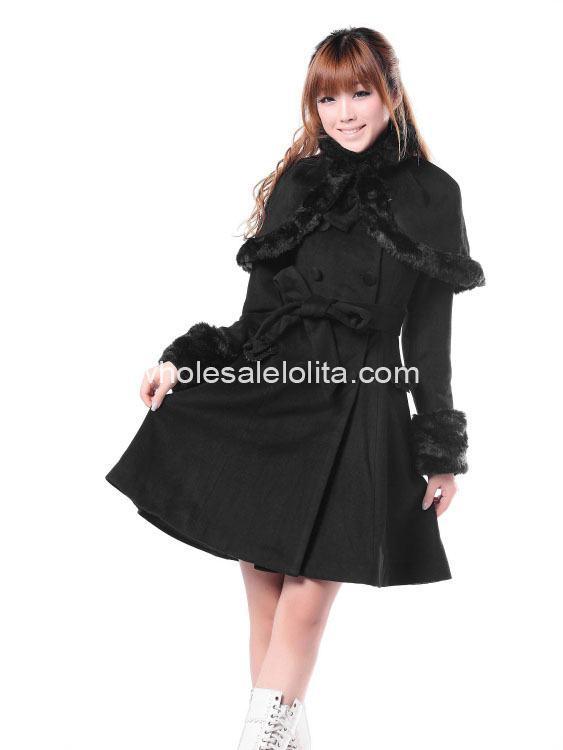 Manteau Lolita Cher D'hiver Noir Gothique Doux Mignon Laine Pas xwRq0gXff