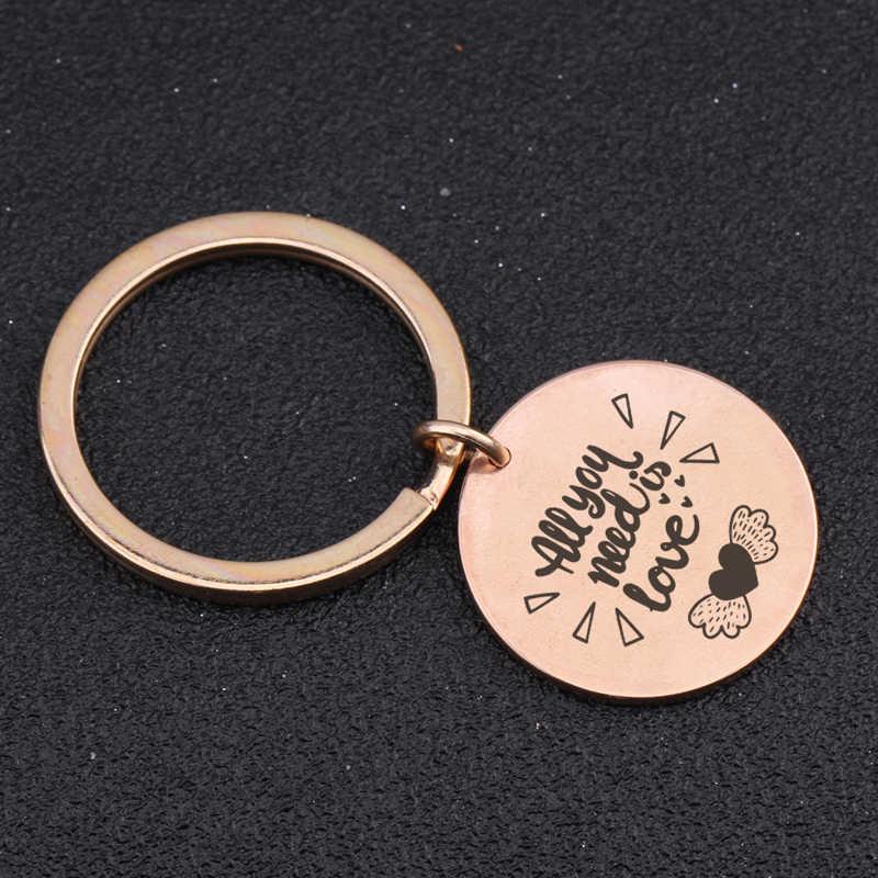 Thời trang Thép Không Gỉ Keychain Khắc Tất Cả Các Bạn Cần Là Tình Yêu Dành Cho Tự Kỷ Người Quà Tặng Đồ Trang Sức Vòng Quyến Rũ Vòng Chìa Khóa Tag