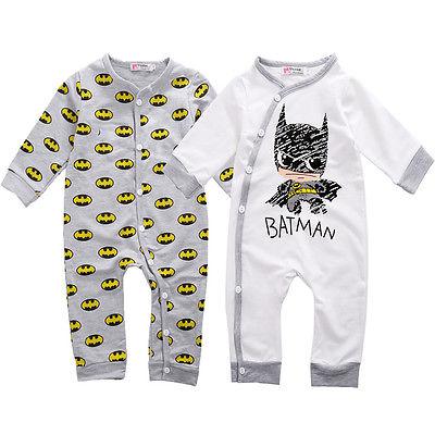 Newborn Baby Girls Boys Batman Bodysuit Playsuit One-pieces Outfits 0-18M