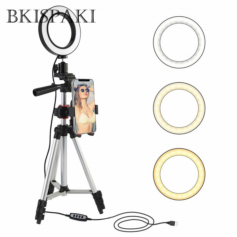 Photography Dimmable LED Studio Camera Selfie Ring Light Youtube Video Live 3500 5500k Makeup Light With Phone Holder USB Plug