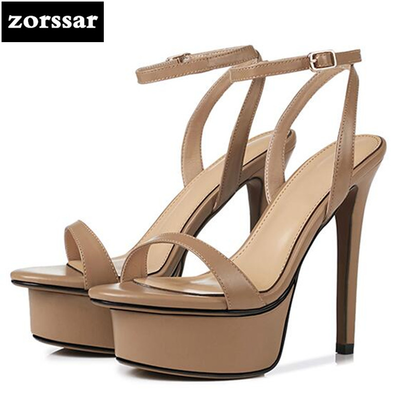 {Zorssar} 2018 New Sexy Thin heels Women Sandals Summer Women Shoes platform High Heels Sandals female party shoes Big Size 40 summer new models of fish mouth women sandals large size 40 43 yards shoes waterproof platform high heels female sandals obuv