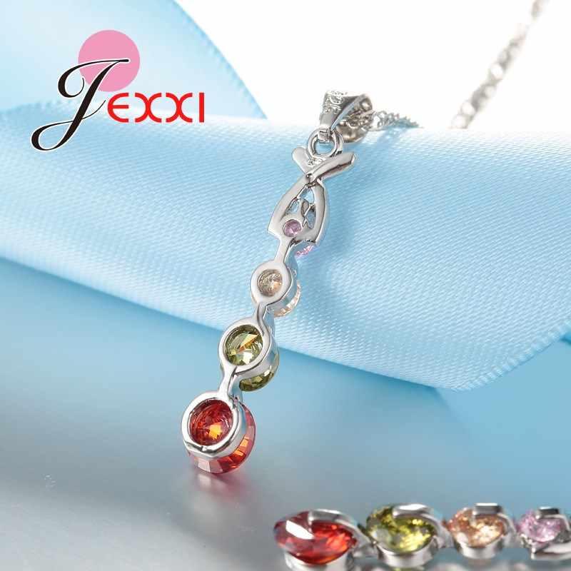 צבעוני מעוקב זירקון 925 כסף סטרלינג צבע שרשרת/עגילים/תליון תכשיטים לנשים/בנות סיטונאי מחיר