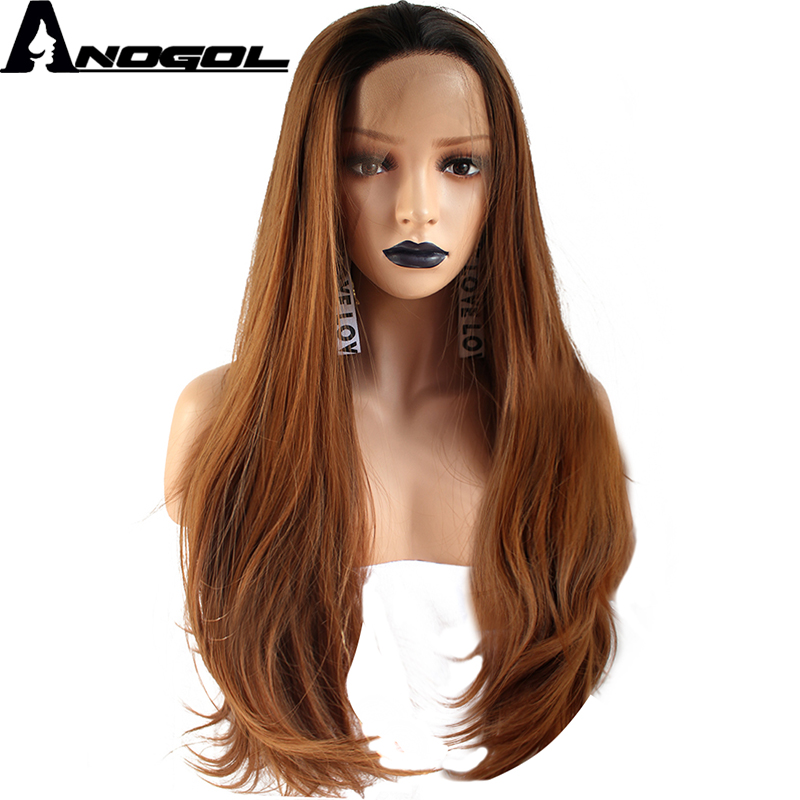 Anogol High Temperature Fiber Peruca Frontal Long Natural Wave Hair Wigs Black Ombre Brown Synthetic Lace