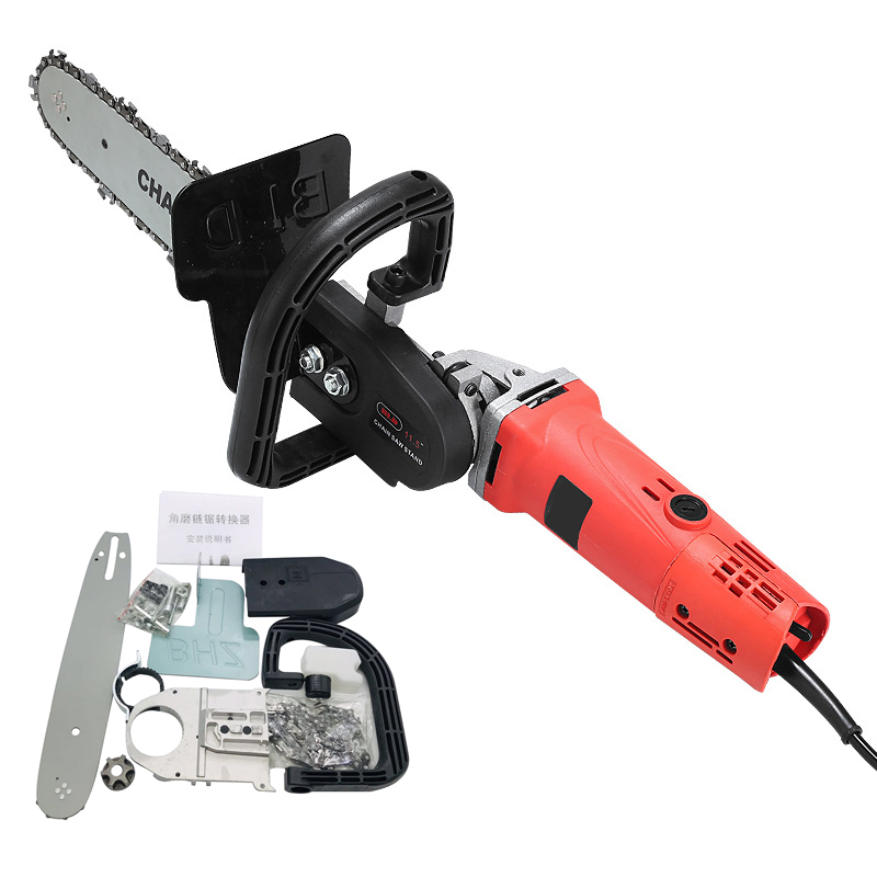 700W Electric 100 Angle Grinder Chainsaw Woodworking Cutting 11.5 Inch Chainsaw Bracket Change Grinder