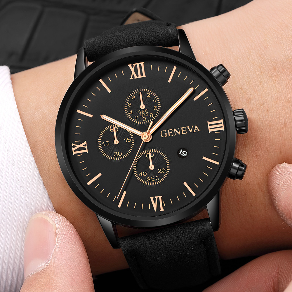 Watch Men Luxury Fashion Faux Leather Mens Blue Ray Glass Quartz Analog Watches With Calen Gift for Men(China)