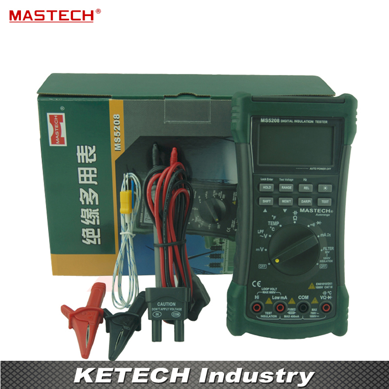 6600 графы цифровой мультиметр тестер изоляции True RMS AC Напряжение ток Температура метр MASTECH ms5208