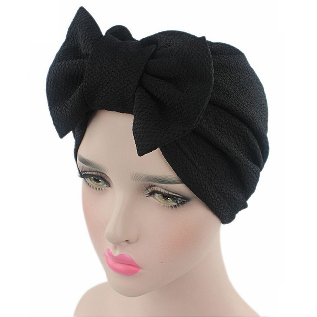 3cb550b4d8b 2017 Fashion Women Big Bow Turban Hat Headdress Bow Knot Bonnet Hat Chemo  Hair Cap Soft