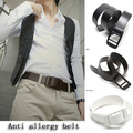 fashion casual All-match solid color metal plastic Allergy male belts smooth buckle faux leather men belt for big size