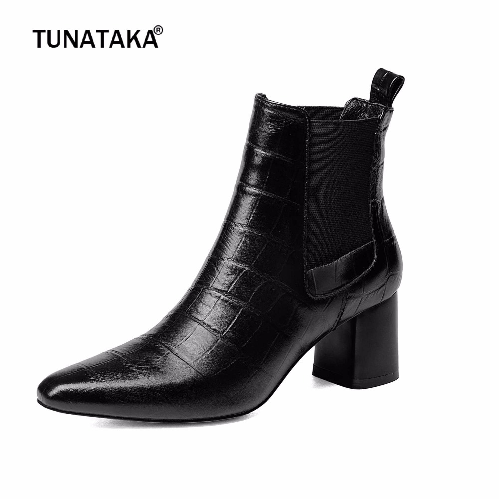 Plus Size 43 Peep Toe Black Cow Leather Thick High Heel Ankle Boots Fashion Chelsea Boots Winter Casual Shoes Woman universal alarm systems car remote central kit door lock locking vehicle keyless entry system new with remote controllers new