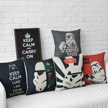 Diseño Vintage Star Wars Yoda cojín para coche o sofá pósters de la película Star Wars Pop Oficina tirar almohadas para Decoración de casa cojines de 45*45cm