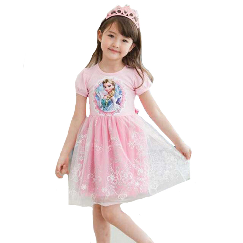 Girl Princess Dress 2018 New Style Summer Dresses Girls Baby Clothes High Quality Pink Blue Elsa Lace Kids Party Dress Outfits мыльница vanstore plastic white цвет белый 12 х 9 х 2 5 см