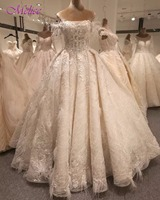 Melice Glamorous Appliques Lace Ball Gown Wedding Dresses 2018 Boat Neck Robe De Mariage Princess Wedding