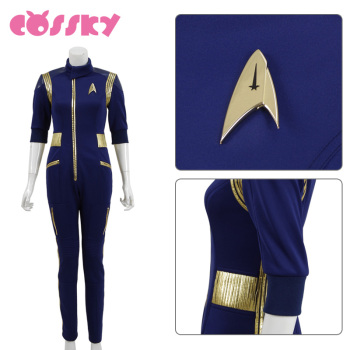 Star Trek Discovery Commander Jumpsuit Uniform Cosplay Costume Blue Women Jumpsuit Halloween Costume without Badge