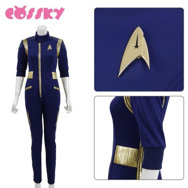 Star Trek Discovery Commander Jumpsuit Uniform Cosplay Costume Blue Women Jumpsuit Halloween Costume without Badge