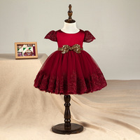 DKDGNY 2018 New Red Baby Girl 1 Year Birthday Party Dress With Gold Bow Crapped Sleeve Baby Girl Dress 12M 6T
