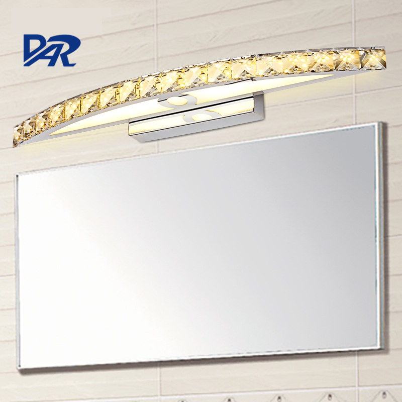 Luxury K9 Clear/Champagne Crystal Mirror Light L44/54/70cm Stainless Steel Bathroom Light Modern Led Wall Lamp Wandlamp Lamparas vallkin modern round led pendant light clear k9 crystal and silver stianless steel d40cm 18w ce fcc rohs