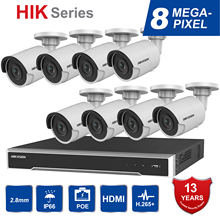 цена на Hik Original 8CH HD Network POE NVR Kit CCTV Security System 8pcs 8MP Bullet Outdoor IP Camera IR Night Vision Surveillance Set