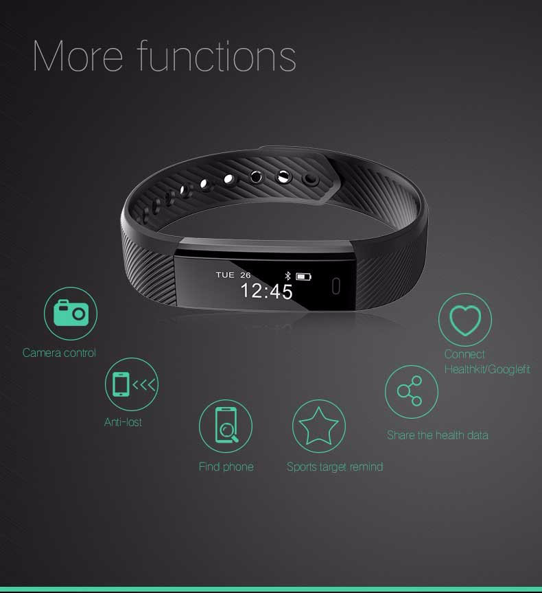 Fentorn ID115 Sports Smart band call message reminder Steps calorie activities Fitness Tracker Wristband Bracelet for smartphone 9
