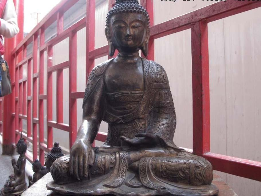 Chinese buddhism bronze gild eight treasures Sakyamuni tathagata buddha StatueChinese buddhism bronze gild eight treasures Sakyamuni tathagata buddha Statue