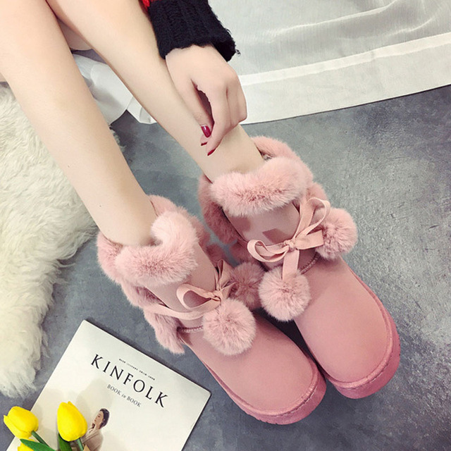 e912f2cfa1db KHTAA Women s Winter Warm Fur Ball Cute Suede Bowtie Ankle Snow Boots  Female Non-Slip Shoes Ladies Comfortable Fashion Footwear