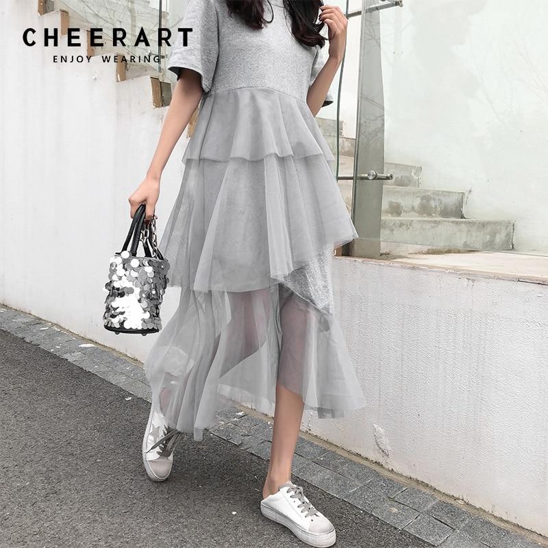 Cheerart Asymmetrical Patchwork Mesh Dress Women Long Casual T Shirt Dress Grey Black Korean Summer Dress Robe Femme