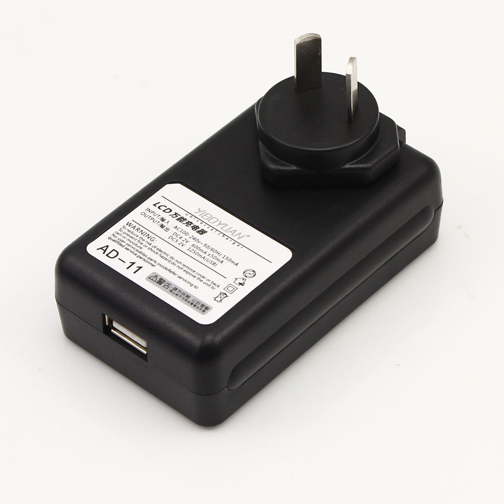 High Quality AU PLUG New Mobile Universal Battery Charger For Cell Phones USB-Port Black LCD Indicator Screen + Tracking