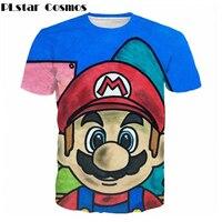 PLstar Cosmos Newest Funny Japan Anime T Shirts Cute Super Mario 3D Print T Shirt Men
