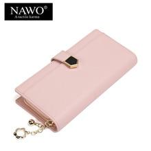 NAWO New Split Leather Women Wallets Brand Designer High Quality Hasp Female Money bag Coin Pocket Card Holder Long Purse Clutch
