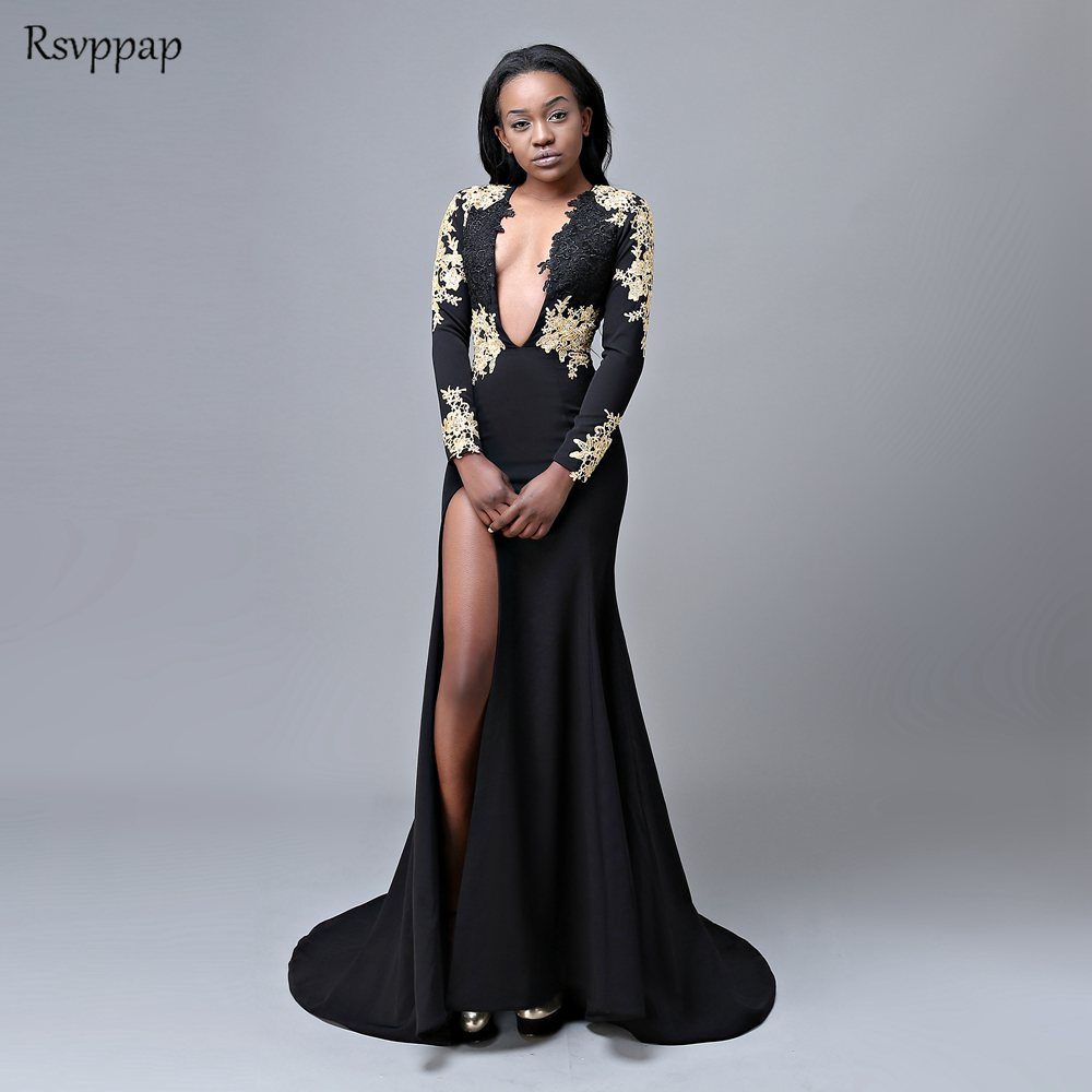 f9e0baea077bb Long Sexy Prom Dresses 2019 V-neck Long Sleeve Backless High Slit African  Black Mermaid Gold Lace Girl Prom Dress