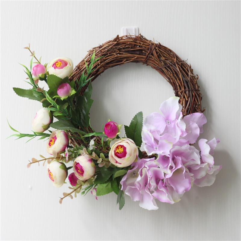 Nouvelle Simulation pastorale américaine linteau décoration fleur anneau salle de mariage pendentif porte décoration hôtel Villa Rose couronne