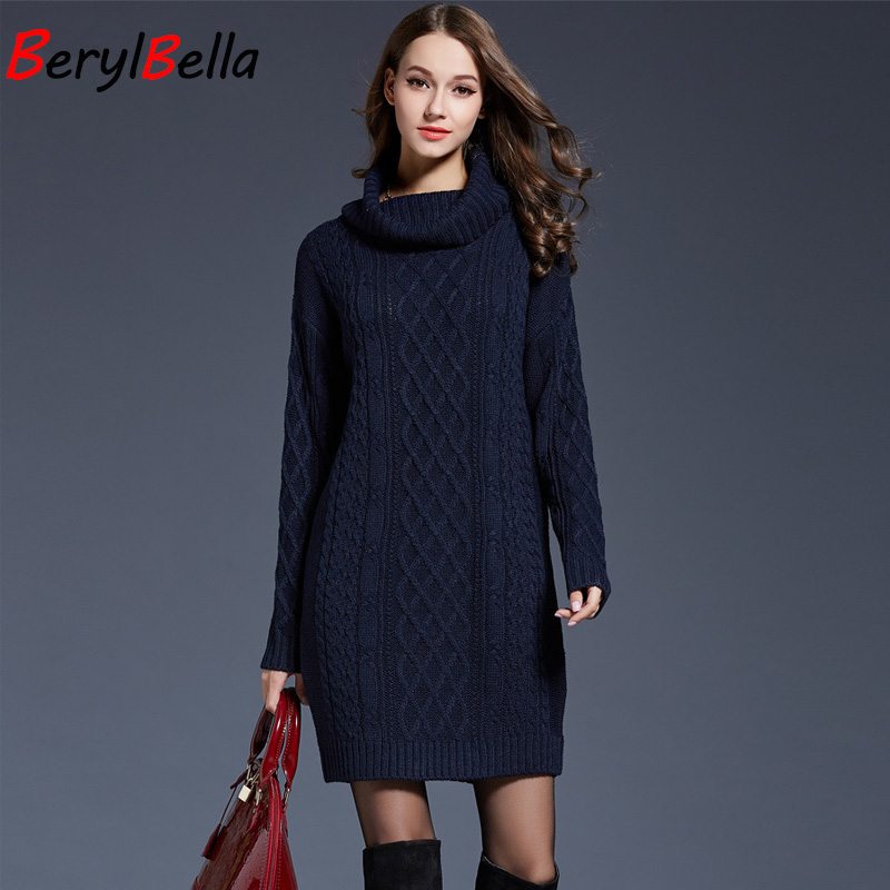 c46754964d0 BerylBella Women Sweaters Pullovers Turtleneck Long Sleeve Sweater Dress  2018 Winter Knitting Women s White Warm Sweater Clothes-in Pullovers from  Women s ...