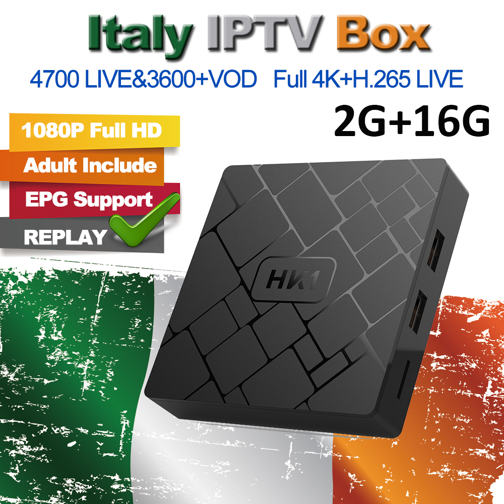 Europe Italy IPTV HK1 Android 7.1 Smart TV Box 2G 16G Arabic  EX-YU Spain Portugal Sweden USA French 4800+ Live M3U